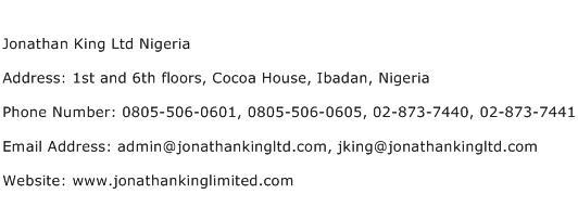Jonathan King Ltd Nigeria Address Contact Number