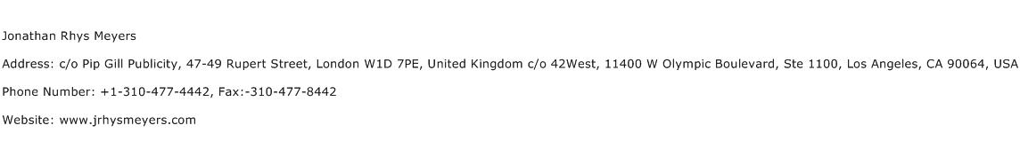 Jonathan Rhys Meyers Address Contact Number