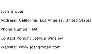 Josh Groban Address Contact Number