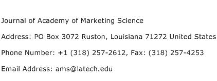 Journal of Academy of Marketing Science Address Contact Number