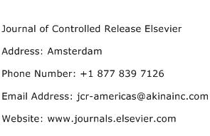 Journal of Controlled Release Elsevier Address Contact Number
