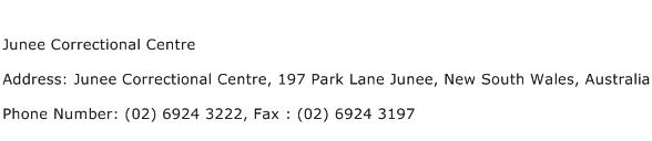 Junee Correctional Centre Address Contact Number