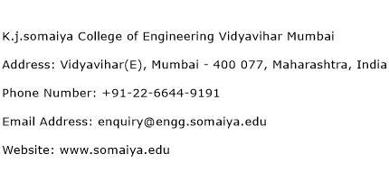 K.j.somaiya College of Engineering Vidyavihar Mumbai Address Contact Number