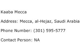 Kaaba Mecca Address Contact Number