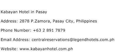 Kabayan Hotel in Pasay Address Contact Number