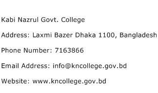 Kabi Nazrul Govt. College Address Contact Number
