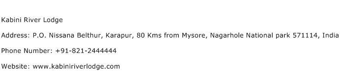 Kabini River Lodge Address Contact Number