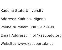 Kaduna State University Address Contact Number