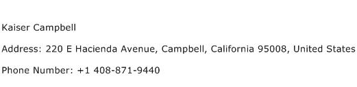 Kaiser Campbell Address Contact Number