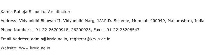 Kamla Raheja School of Architecture Address Contact Number