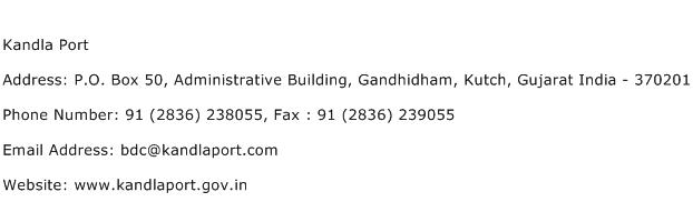 Kandla Port Address Contact Number