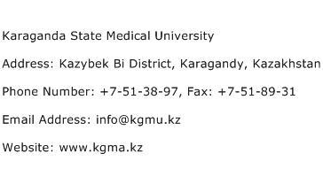 Karaganda State Medical University Address Contact Number