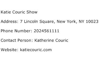 Katie Couric Show Address Contact Number