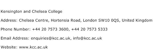 Kensington and Chelsea College Address Contact Number