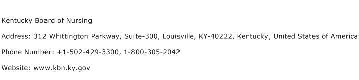 Kentucky Board of Nursing Address Contact Number