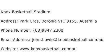 Knox Basketball Stadium Address Contact Number