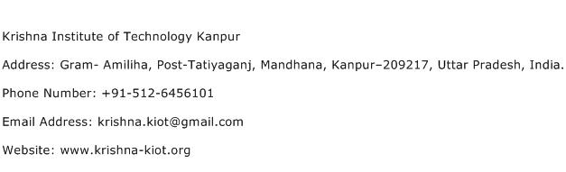 Krishna Institute of Technology Kanpur Address Contact Number