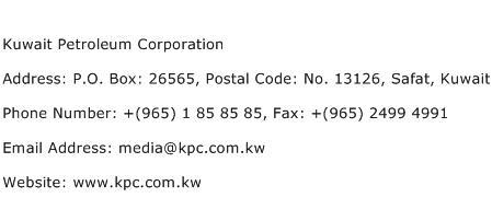 Kuwait Petroleum Corporation Address Contact Number