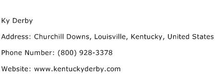 Ky Derby Address Contact Number