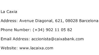 La Caxia Address Contact Number