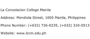 La Consolacion College Manila Address Contact Number