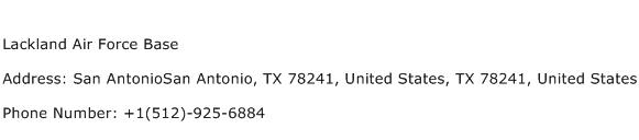 Lackland Air Force Base Address Contact Number