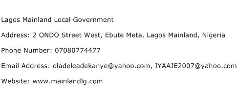 Lagos Mainland Local Government Address Contact Number