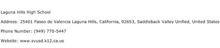 Laguna Hills High School Address Contact Number