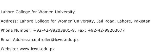 Lahore College for Women University Address Contact Number