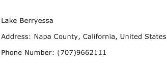 Lake Berryessa Address Contact Number
