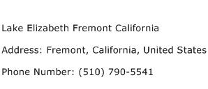 Lake Elizabeth Fremont California Address Contact Number
