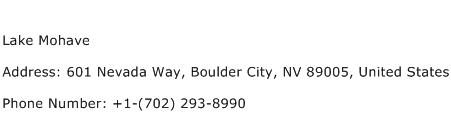 Lake Mohave Address Contact Number