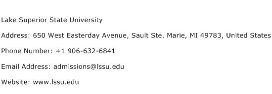 Lake Superior State University Address Contact Number