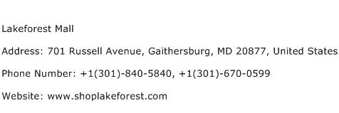 Lakeforest Mall Address Contact Number