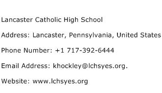 Lancaster Catholic High School Address Contact Number