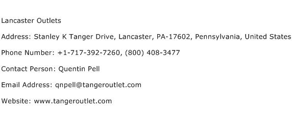 Lancaster Outlets Address Contact Number