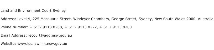 Land and Environment Court Sydney Address Contact Number