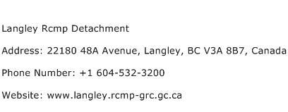 Langley Rcmp Detachment Address Contact Number