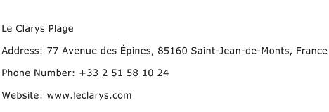 Le Clarys Plage Address Contact Number