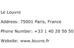 Le Louvre Address Contact Number