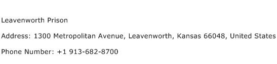 Leavenworth Prison Address Contact Number