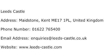 Leeds Castle Address Contact Number