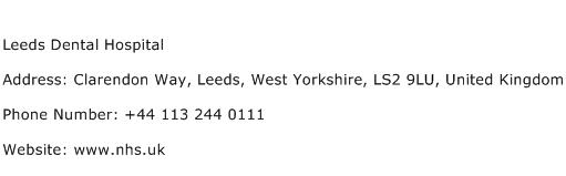Leeds Dental Hospital Address Contact Number