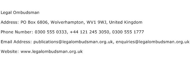 Legal Ombudsman Address Contact Number