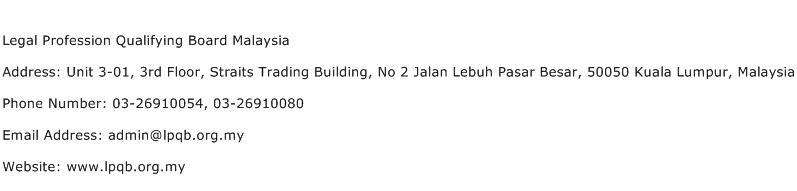 Legal Profession Qualifying Board Malaysia Address Contact Number