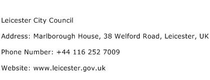 Leicester City Council Address Contact Number