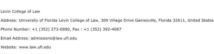 Levin College of Law Address Contact Number