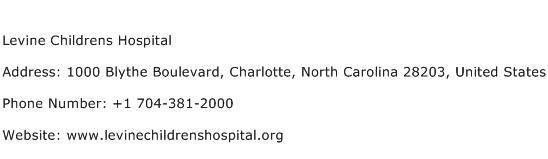 Levine Childrens Hospital Address Contact Number