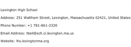 Lexington High School Address Contact Number