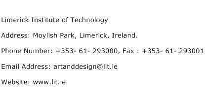 Limerick Institute of Technology Address Contact Number